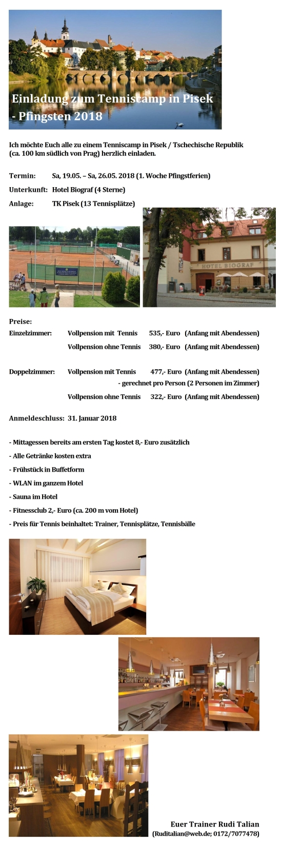 Einladung Tenniscamp in Pisek 2018